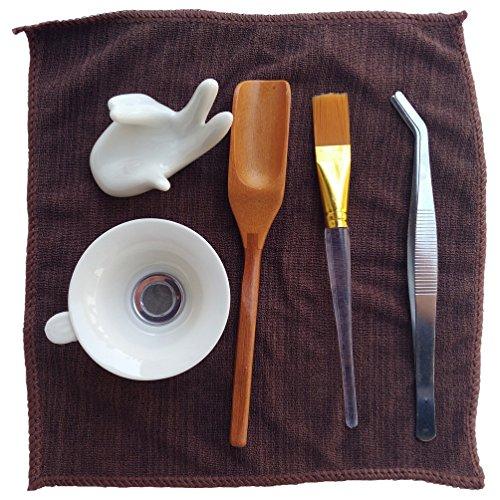 Arlai 6 Pieces Gong Fu Tea Tools ceramic Bergamot tea strainer tea tools,Stainless steel tea clip,Bamboo tea spoon,Tea brush,Tea cloth