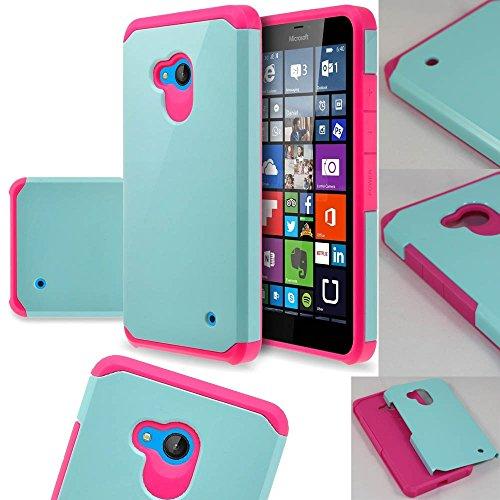 Lumia 640 Case, Microsoft Lumia 640 LTE, SOGA Hybrid Astro Armor Cover Protector Case for Microsoft Nokia Lumia 640 LTE (AT&T, T-Mobile, Metro PCS) - Teal / Hot Pink [SWA296]