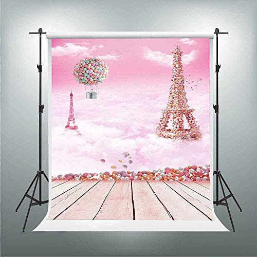 GESEN Eiffel Tower Backdrop 5x7ft Colorful Balloons Pink Clouds Photography Backdrop for Pictures Birthday Themed Party Background Photo Studio Props PGGE673
