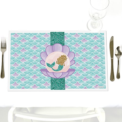 Let's Be Mermaids - Party Table Decorations - Baby Shower or Birthday Party Placemats - Set of 12 by Big Dot of Happiness