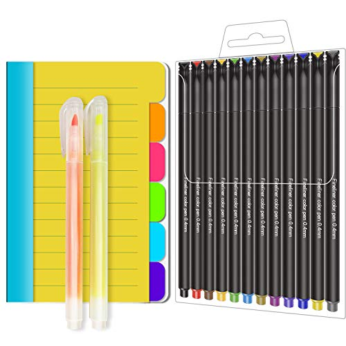 Creative Design pack with Sticky Notes fineliner Colored pens and 2 highlighters