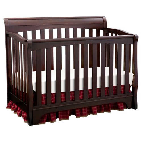 Delta Children Eclipse 4 in 1 Convertible Crib, Black Cherry/Espresso (Prices Cheap Daybed)
