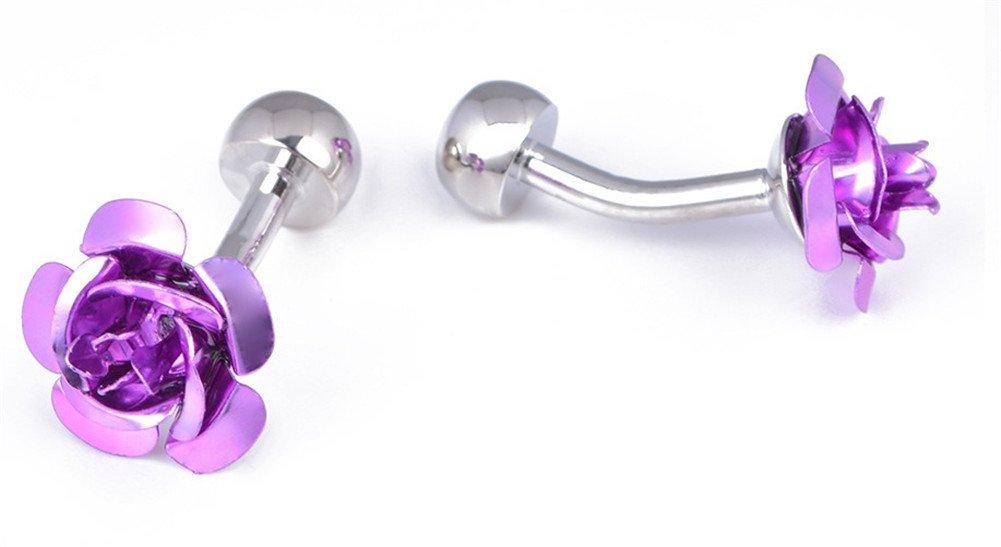 Da.Wa 1 Pair Rose Flower Cuff Links for Mans Women Jewelry Gift for Wedding Anniversaries Birthday Cufflinks by Da.Wa (Image #2)