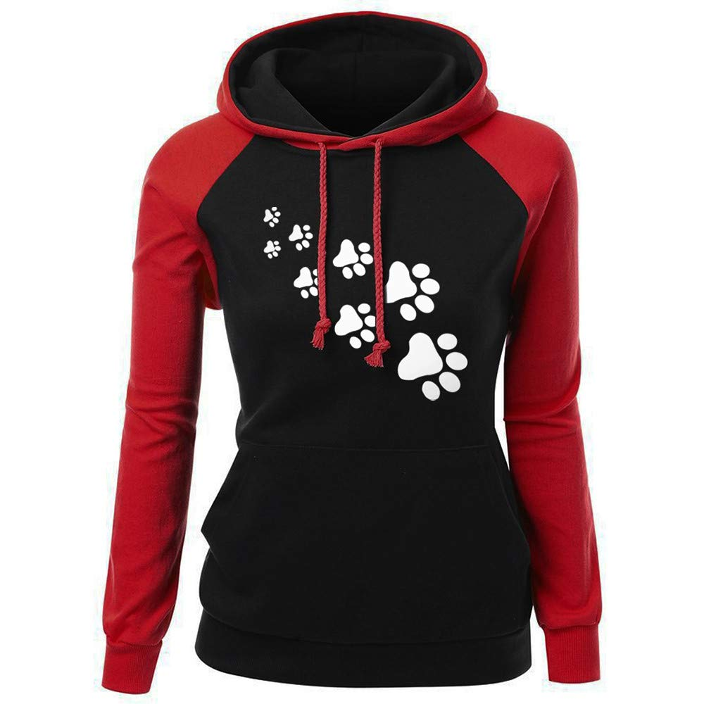 Moginp Fashion Winter Fall Hoodie Jumper Womens Casual Long Sleeve Print Pocket Outwear Sweatshirt Hooded Ladies Pullover with Drawstring 💗 Moginp Fashion unique design