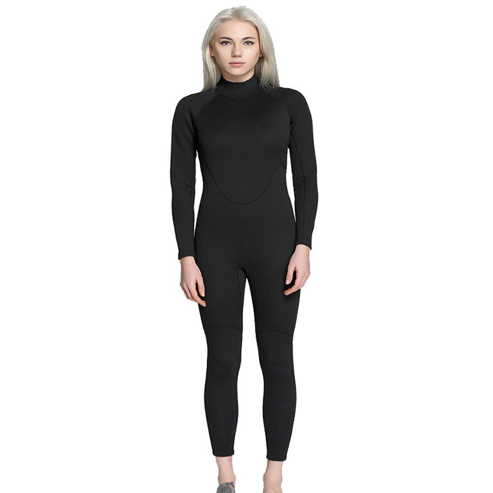 女性のウェットスーツ 女性の ダイビングスーツ 2 mm シャム 完全黒 ネオプレンゴム ウェットスーツ サーフィン セット 防水 暖かく保つ ダイビングスーツ に適して 深海 探査 エクササイズ サーフィンウェットスーツ (Size : XL)  X-Large