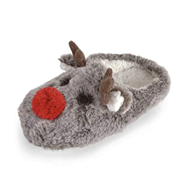 9e4e5e729f2f OCTAVE Ladies Fluffy Novelty Plush Reindeer Mule Slippers - Soft Fleece  Lining  Amazon.co.uk  Clothing