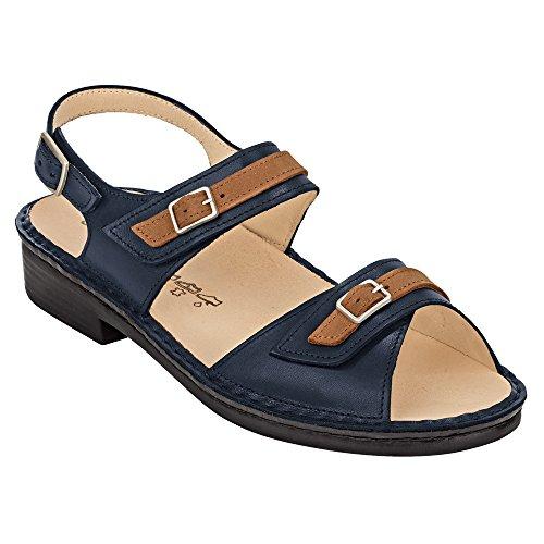 Finn Comfort Sasso–Scarpe da donna sandali comode/sfusa inserto, blu, pelle (Mozart/Drakkar)