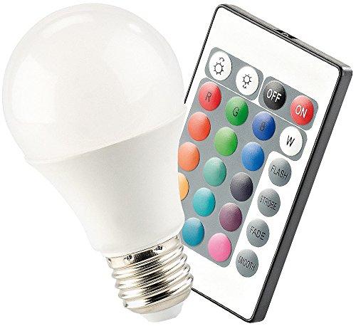 Luminea LED-Lampe, Color RGB & Warmweiß, E27, 7,5 W, mit Fernbedienung