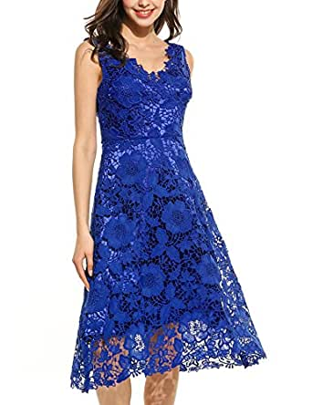 Meaneor Women's V Neck Sleeveless Floral Lace Elegant Evening Party Sheath Dress(Blue,Small)