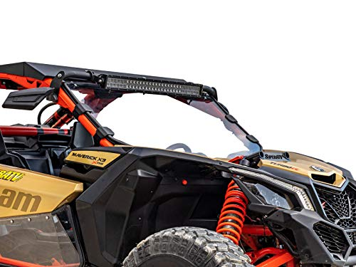 SuperATV Heavy Duty Clear Scratch Resistant Full Windshield for Can-Am Maverick X3 900 / Turbo/X RC/X RS/X DS/X MR/MAX (2017+) - Clear Scratch Resistant Polycarbonate
