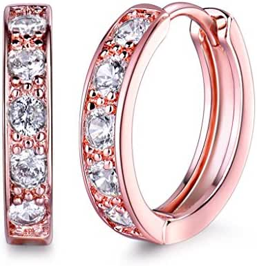 GULICX Gold Tone White Crystal 3mm CZ Cubic Zirconia Girls Hoop Huggie Earrings
