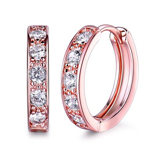 GULICX Clear Zircon Rose Gold Electroplated Huggie Hoop Earrings Diameter 20mm Jewelry for Women