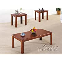 3pcs Cherry Finish Contemporary Meridia Coffee Table Set