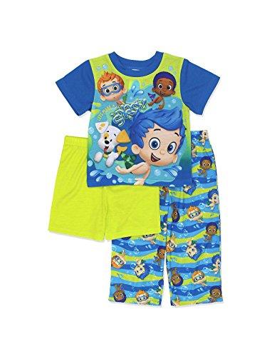 Nickelodeon Bubble Guppies Boys 3 Piece Pajamas Set (2T, Blue/Green)