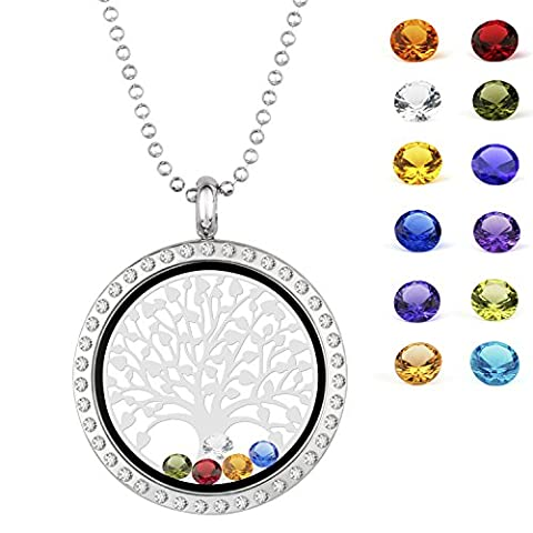 EBOETA Tree of Life Pendant Necklace With Birthstone Floating Charm Locket Necklace Gifts for Women - Customized Lobster
