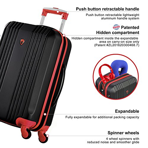 Olympia Apache 3pc Hardcase Spinner Luggage Set, Black/Red by Olympia (Image #4)