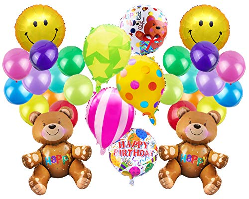 (Pack of 29 Cute Bear Theme Balloons Aluminum Foil Balloons Includes Bears Hot Air Balloons Smile Face Emoji Happy Birthday Balloons Colorful Latex Balloons for Kids Birthday Party Supplies)