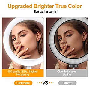 """OldShark 10"""" Ring Light Makeup Video LED Selfie Ringlight with Tripod Stand Phone Holder Dimmable Circle Lights for Fashion Photography YouTube Live Stream"""