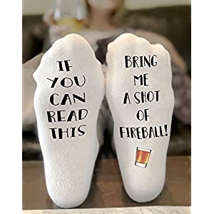 If You Can Read This Bring Me a shot of Fireball Whiskey Novelty Funky Crew Socks Men Women Christmas Gifts Cotton Slipper Socks