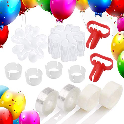 Loves Town 76 pcs Balloon Decorating Kit,Balloon Accessories 32ft Balloon Tape 2Pcs Tying Tool 200 Dot Glue 2 Style Balloon Clip for Party Balloons