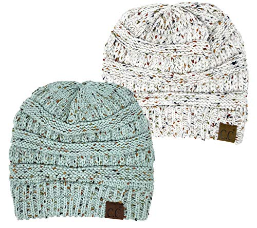 H-6033-2-2554 Confetti Knit Beanie Bundle - Ivory & Mint (2 Pack) ()