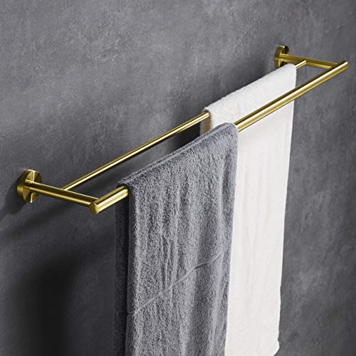Double Bath Towel Rod - Hoooh Double Bath Towel Bar 36-Inch Stainless Steel Hand Towel Rack for Bathroom Wall Mount Brushed Gold, A102L90-BG