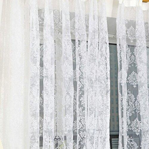 ro Flocked Floral Voile Door Window Curtain Panel Sheer Tulle Drape White ()