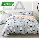 VClife King Bedding Sets 3 PCS Geometric Duvet Cover Sets for Adults