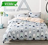 VClife Full Queen Kids Bedding Sets Geometric Duvet Cover Sets Cotton Romantic Cupid's Arrow Design Bed Comforter Cover Sets, 90