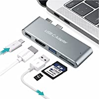 USB Type C Adapter,TONSUM USB Type C Adapter Dongle with HDMI Output for New MacBook Pro 13&15, 5 in 1 Multiport Hub with Thunderbolt 3, 4K HDMI, USB 3.0 Port, SD/Micro Card Reader Space Gray