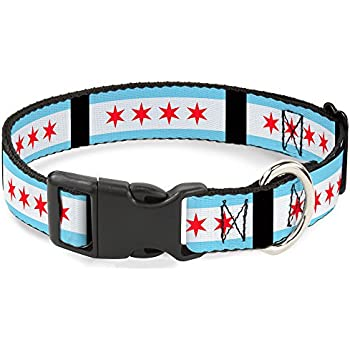 "Buckle-Down Plastic Clip Collar - Chicago Flags/Black - 1"" Wide - Fits 11-17"" Neck - Medium"