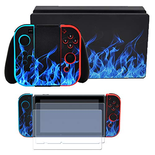 (Taifond The Blue Flame Decals Stickers Set Faceplate Skin +2Pcs Screen Protector for Nintendo Switch Console & Joy-Con Controller & Dock Protection Kit)