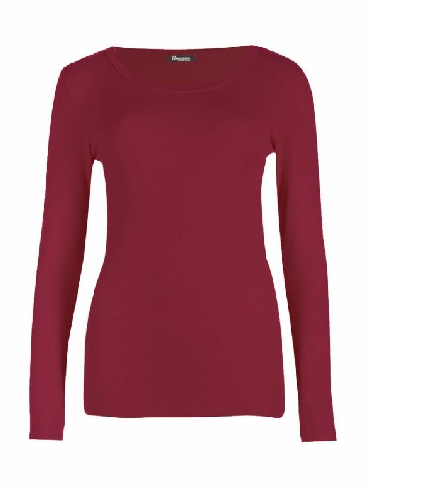 OgLuxe Long Sleeve Plain Soft Stretchy T-Shirt Top