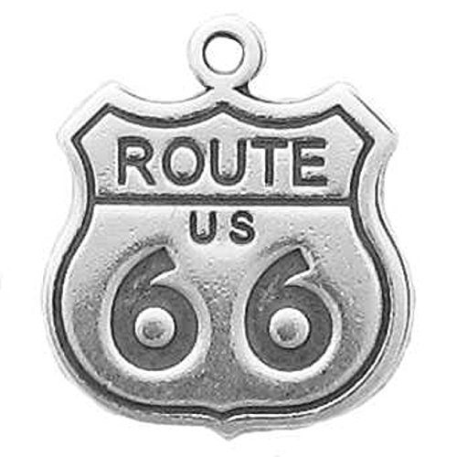 Sterling Silver 3D US Route 66 Sign Travel Road Trip Charm by Auntie's Treasures