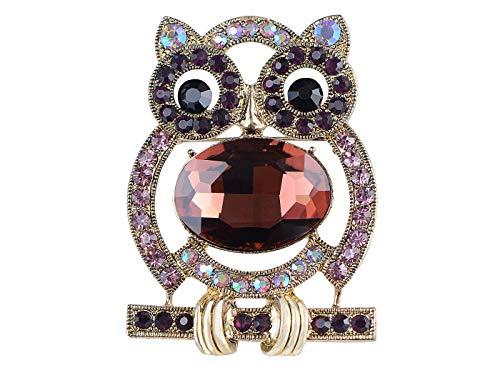 Alilang Golden Tone Large Purple Body Rhinestone Cartoon Cute Owl Bird Fashion Pin Brooch ()