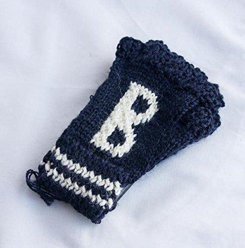 (ブラックシープ) BLACKSHEEP イギリス産 ウール指ぬきニット手袋 イニシャル「B」