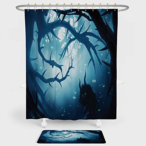 Mystic House Decor Shower Curtain And Floor Mat Combination Set Animal with Burning Eyes in Dark Forest at Night Horror Halloween Illustration For decoration and daily use Navy White ()