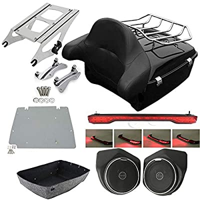 XFMT King Tour Pack Trunk Backrest Luggage Rack 2-UP Mounting Rack Rear Speaker Led Brake Turn Tail Light with Docking Hardware Kits Fit For Harley Touring 2014-2020: Automotive