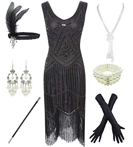 1920s Gatsby Sequin Fringed Paisley Flapper Dress with 20s Accessories Set (S, ()