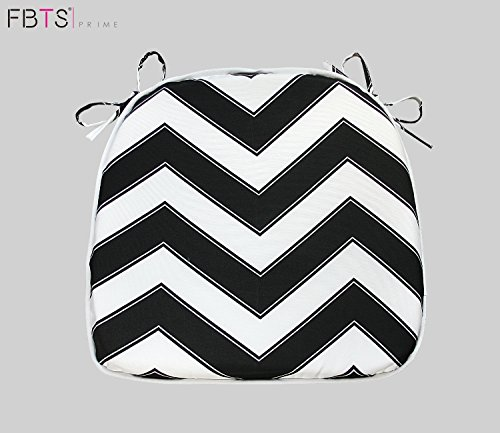 Chair Cushion 16 x 17 Inches Indoor/Outdoor Seat Pads Square (Set of 2, Black & White, Wave) for Outdoor Patio Furniture Garden Home Office by FBTS Prime (Patio Chair White Cushions)
