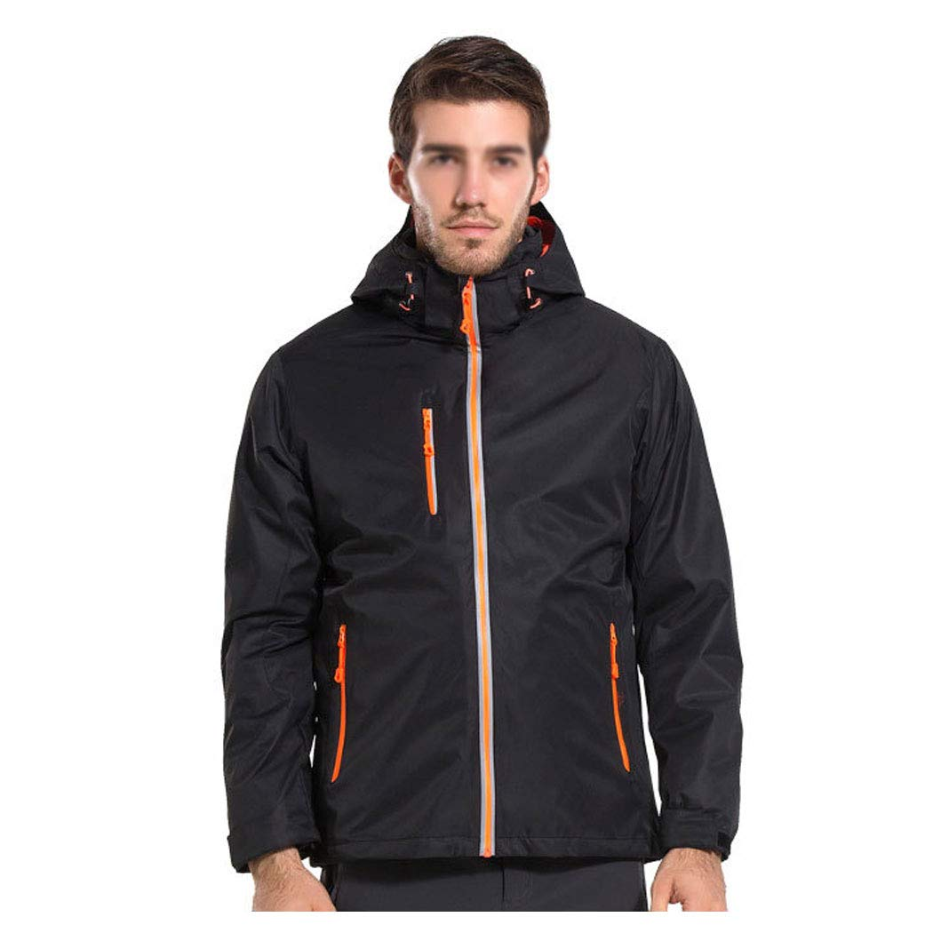 男性と女性のアウトドアジャケット厚い取り外し可能なツーピーストラベルジャケット防水防風登山服 Men 黒 M