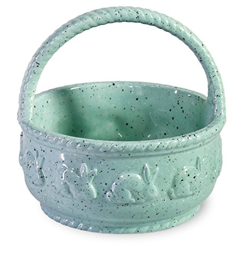 Boston International Spring Hare Ceramic Candy Basket, Blue