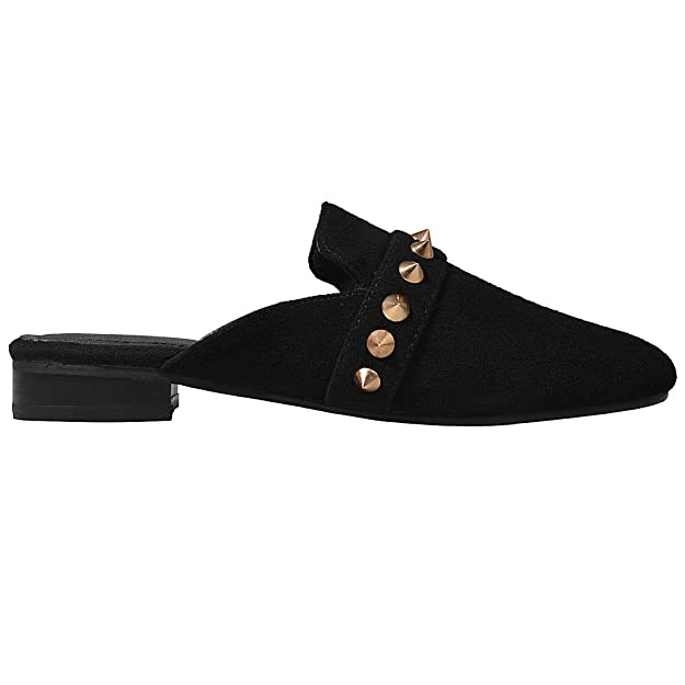 Comfity Mules for Women,Womens Leather Slip On Mule Flats Embroidery Backless Loafers Slippers Shoes