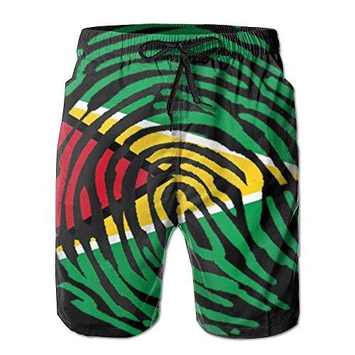 LLiopn Guyana Guyanese Pride Flag Fingerprint Country Mens Shorts Loose Summer Swimming Trunks Running Swimming and Surfing Medium