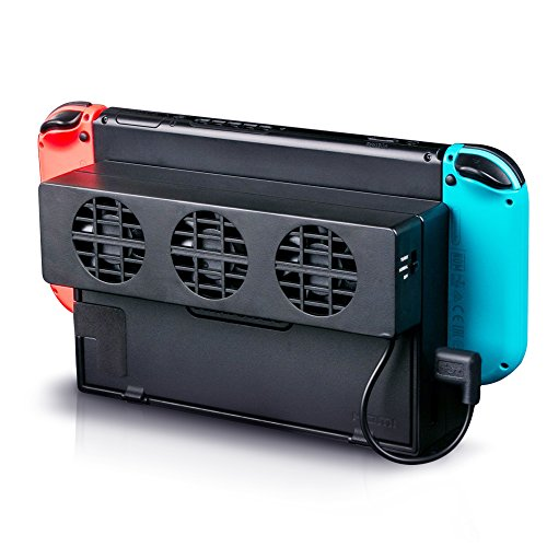 Game Fan (LinkStyle Nintendo Switch Cooling Fan, External USB Power Cooling Fan Docking Station with 3 Small Fans Super Turbo Temperature Cooler Fan Stand for Nintendo Switch Original Dock)