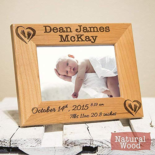 Personalized Birth Announcement Frame with Birth Stats - Picture for Newborn Baby - Gift for New Parents - Nursery Picture Frame - Custom Picture Frame for Newborn - Engraved Wood Frame for Baby