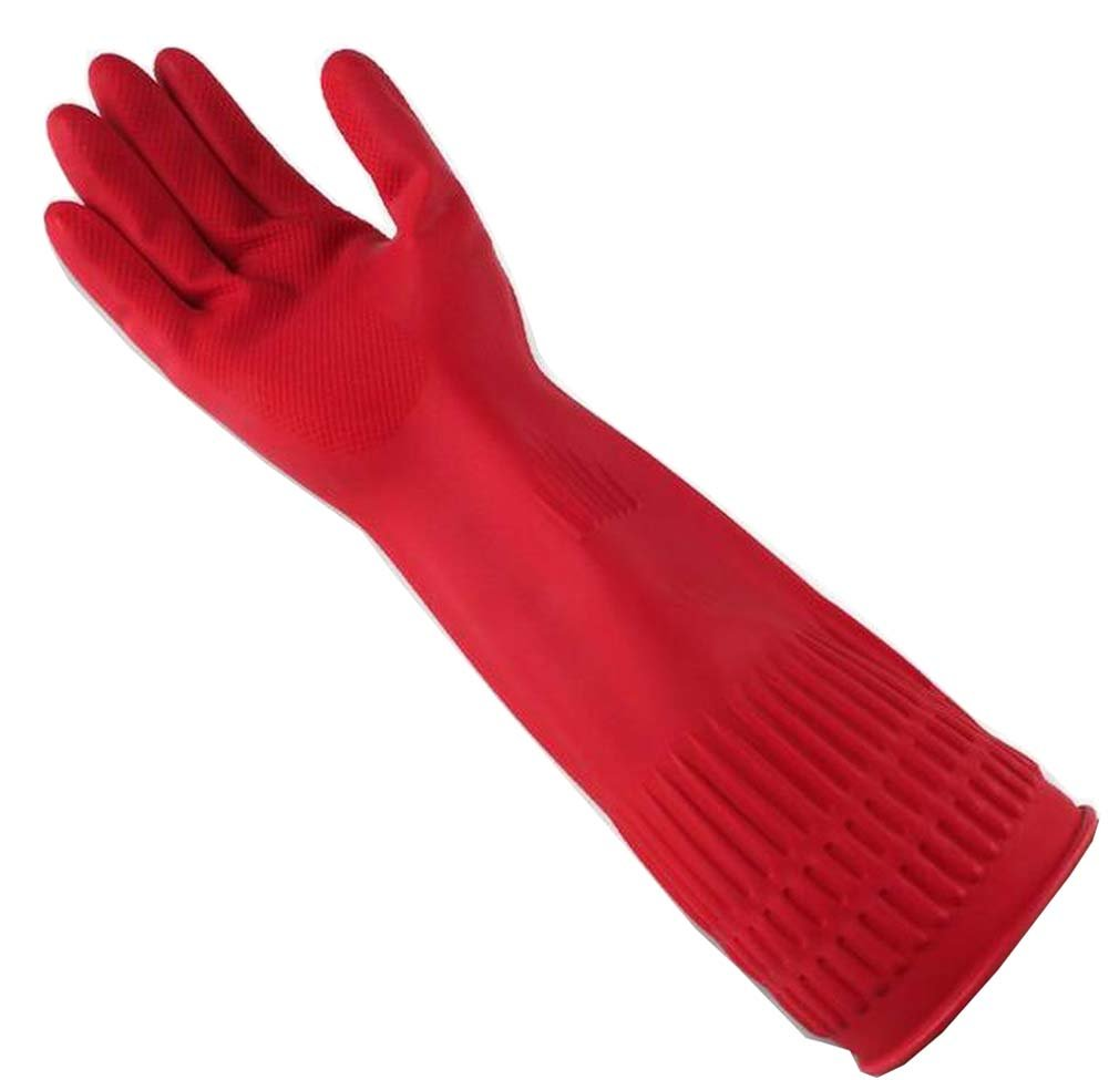 2 Pairs Rubber Cleaning Gloves with Lining Long Dishwashing Gloves, Red Black Temptation