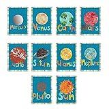 "Solar System - Planet Children Wall Cards 10 Piece 5""x7"" Set , Outer Space, Universe, Playroom, Nursery Decor, Gender Neutral Art, Kids Room Décor"