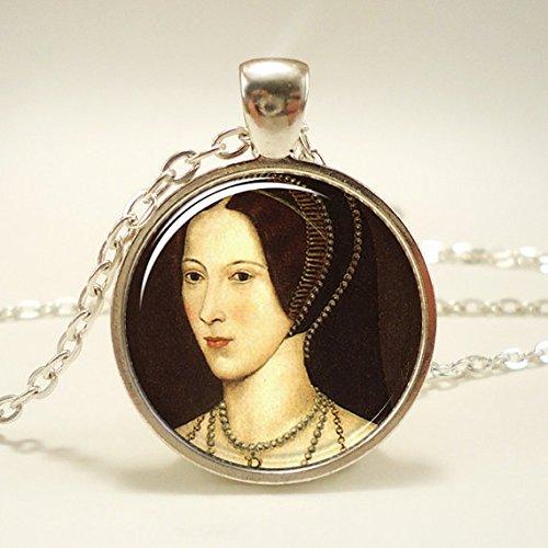 Anne Boleyn Tudor Necklace, Queen of England Portrait Pendant, Henry VIII, Silver Plate