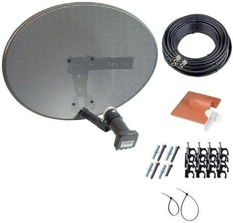 MK4 Sky fuente Kitd con LNB Quad Zone 1 - Kit completo de placa base con 20 m Cable satélite